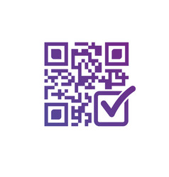 qr code with check mark modern design isolated on vector image