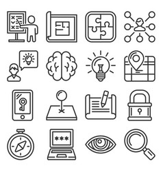 quest icons set on white background line style vector image
