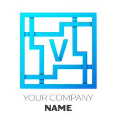 Realistic letter v logo in colorful square maze vector