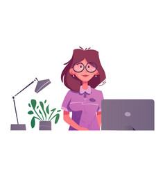 Reception desk hotel receptionist character vector