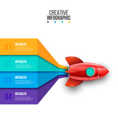rocket infographic business concept with 4 vector image