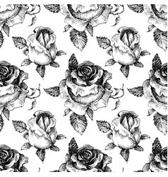 roses seamless pattern black and white vector image