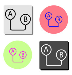 route from point a to point b flat icon vector image