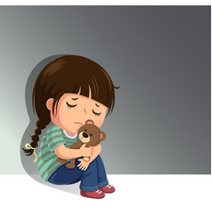 Sad little girl sitting alone with her teddy bear vector