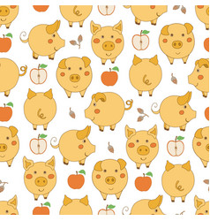 Seamless pattern with cartoon yellow pigs red vector