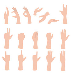 Set hands showing different gestures palm vector