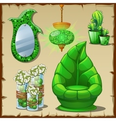 Set of eco-friendly furniture for lovers of green vector