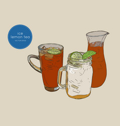 Set of iced lemon mint tea sketch vector