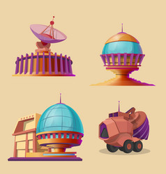 set with objects for space exploration vector image