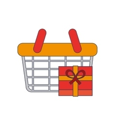 Shopping basket and giftbox icon vector