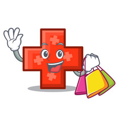 shopping cross character cartoon style vector image