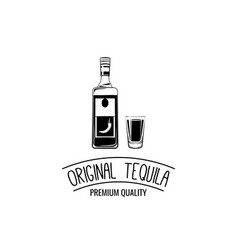shot and bottle tequila vintage vector image