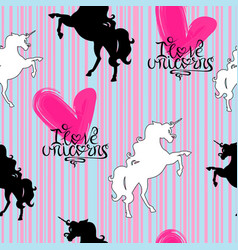 silhouettes of unicorns white and black with vector image
