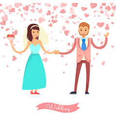 smiling bride holding groom wedding card vector image