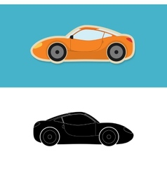 Sports car icon and silhouette vector