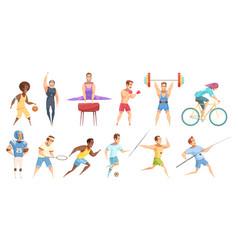 sportsman cartoon characters set vector image