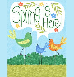 Spring is here tall birds leaves and flowers vector