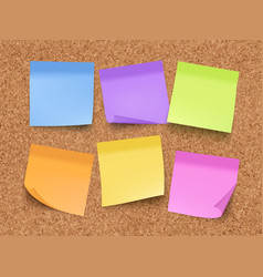 sticky empty notes corkwood board on wall with vector image