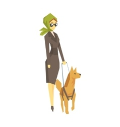 Stylish Blind Woman With Guiding Dog Young Person vector