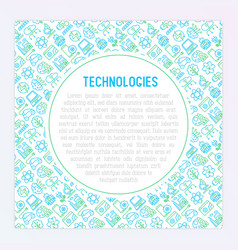 technologies concept with thin line icons vector image