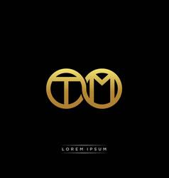 Tm initial letter linked circle capital monogram vector