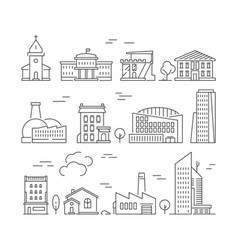 Town buildings icon urban architecture village vector