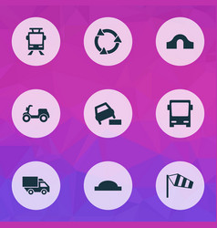 Transportation icons set with tram hump bridge vector