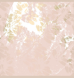 Trendy floral gold foil patina blush background vector