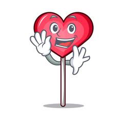 Waving heart lollipop character cartoon vector