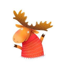 winter moose or elk wearing sweater greeting card vector image