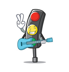 With guitar traffic light character cartoon vector