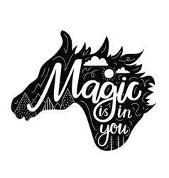 with horse black silhouette head and lettering vector image