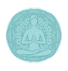 yoga balance female silhouette flower mandala and vector image