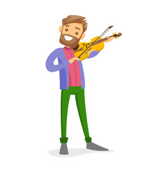 Young caucasian white man playing violin vector