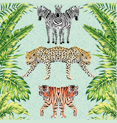 zebra panther tiger mirror green leaves blue vector image