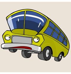 Cartoon Character Yellow Bus vector image