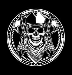 Cowboy Skull Hold Guns vector image vector image