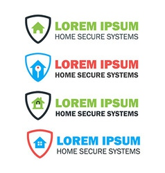House with Shield Logo Concepts Set vector image vector image