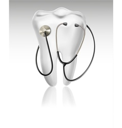 Medical background with tooth and a stethoscope vector image vector image