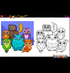 owls bird characters group coloring book vector image vector image