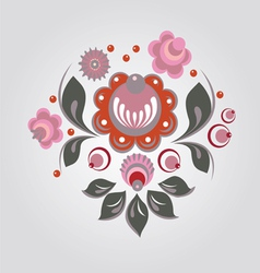 Russian Gorodets style flowers and berryes vector image vector image