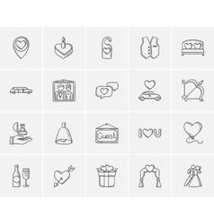 Wedding sketch icon set vector