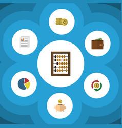 Flat icon gain set of graph money box document vector