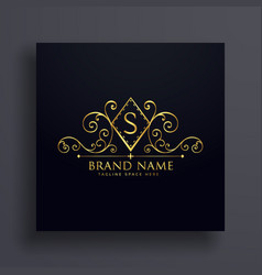 luxury logo concept design with letter s vector image
