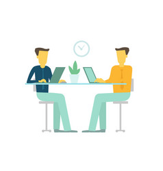 office two people team business people talking sit vector image