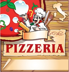 pizzeria background with italian chef vector image vector image