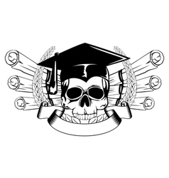 skull in graduation cap and scrolls vector image vector image