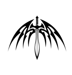 Winged sword with barbed feathers vector image vector image