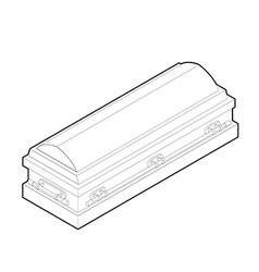 Coffin in linear style Wooden casket for burial vector image