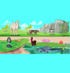 colorful asian animals horizontal banners vector image vector image